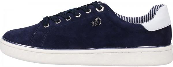 s.Oliver BLACK LABEL Sneaker Leder/Textil Navy
