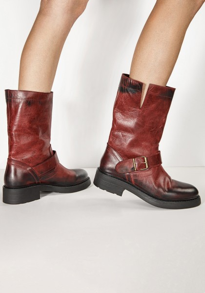 Inuovo Booties Leather Burgundy