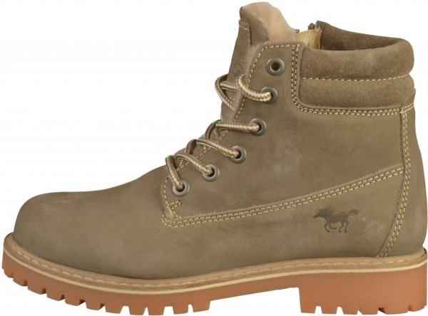 Mustang Booties Leather taupe