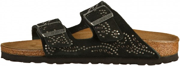 Birkenstock Arizona Pantoletten Veloursleder Injected Black