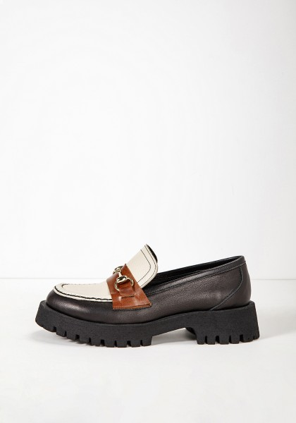 Inuovo Loafers Leather Black/beige