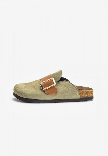 Inuovo Mules Leather Olive
