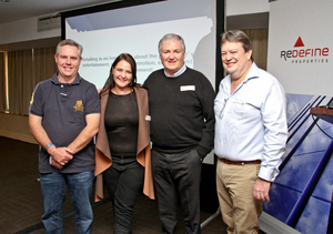 Noel Otto (Otto Bros Distributors), Antoinette Coetzee (Redefine Properties), Jeff Zidel (Fortress Income Fund), Gavin Tagg (Retail Network Services)