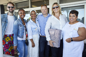Chase Liebenberg (The Blue Room), Amanda Dilima (V & A Waterfront), Aadilah Ryklief (Growthpoint), Elton Holland (Ikon Property Group), Joy Millar (Swindon Property), Brenda Bibby (Cushman Wakefield Excellerate)