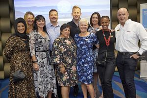 Front: Faizah Behardien, Liezel Conradie, Brenda Bibby(CW Excellerate), Joanne Boswell(Spire Property), Amanda Dilima(V & A Waterfront), Ross Bannatyne(Spar group). Back: Gavin Jones(Growthpoint), Andreana Holmes(The Blue Room)
