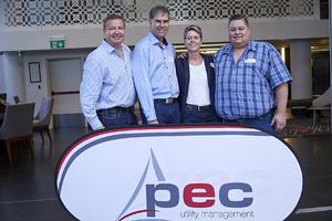 Gavin Jones (Growthpoint Properties), Petrus van Heerden (Kamstrup), Janine de Ath, Frikkie Ne l(PEC Utility Management)