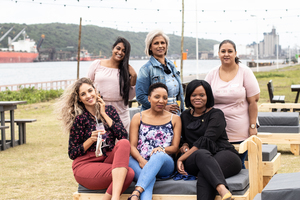 Lisa Folkard, Brenda Silela, Julie Ann Zuma Back : Claudia Moodley Nisha Premraj & Samantha Charles (The Pavilion Shopping Centre)