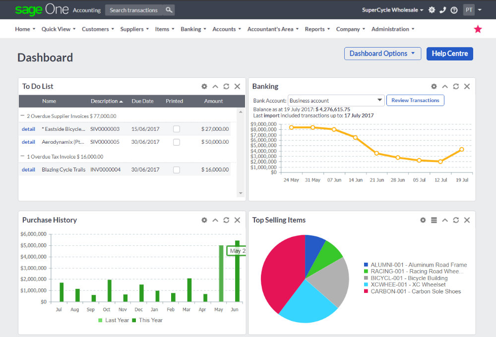 Sage One Small Business Accounting Software - Dashboard