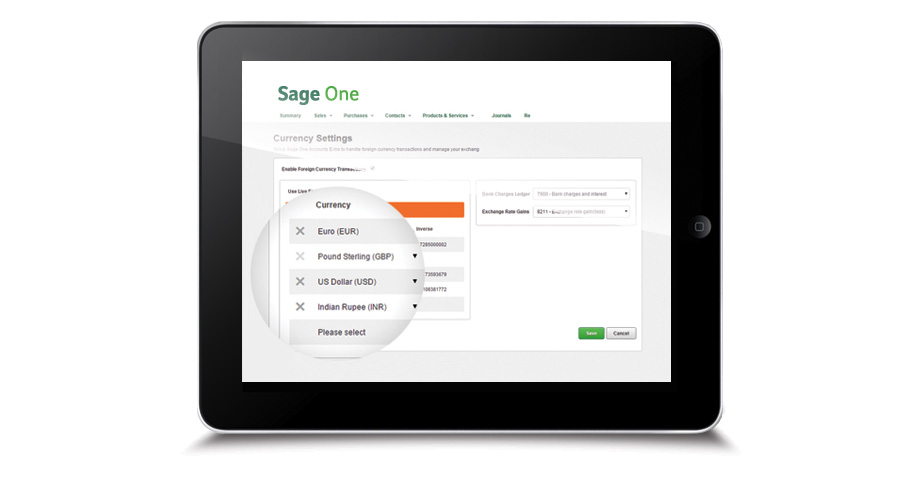 Sage One is the perfect online accounting software for iPad users. Image showing Sage One for iPad.