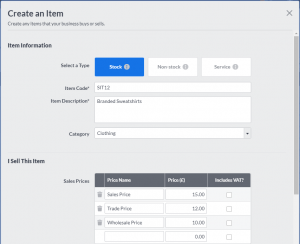 Sage One Accounting - Import and Create Stock Items