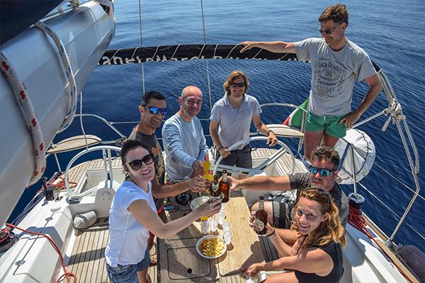 Nuovi amici a bordo a pasqua in barca
