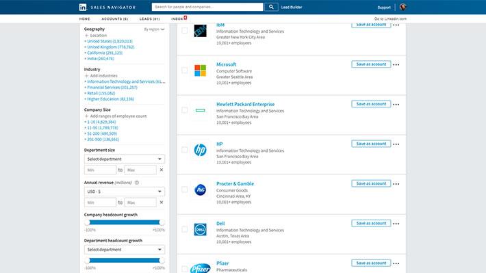 linkedin navigator screenshot