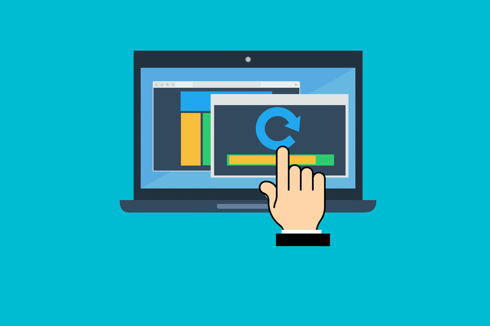 Illustration of hand clicking on computer screen with arrow