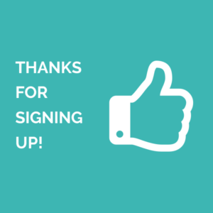 Teal background with white thumbs up icon and thank you message