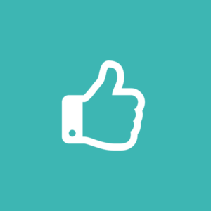 Teal background with white thumbs up icon