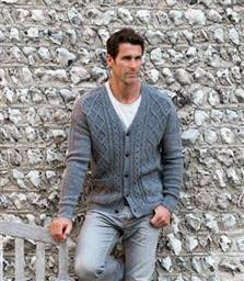 Unisex Lambswool Cable V Neck Cardigan XS Mid Grey