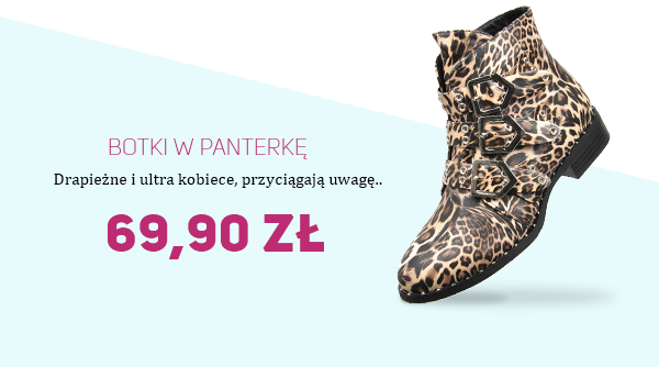 Botki w panterkę za 69,90zł na pantofelek24.pl