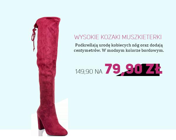 Wysokie kozaki muszkieterki za 79,90zł na pantofelek24.pl