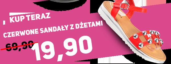 Zobacz Czerwone sandały z dżetami za 19,90zł na pantofelek24.pl