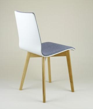 LUKA SOFT W krzesło drewniane biało-szare dębowa rama