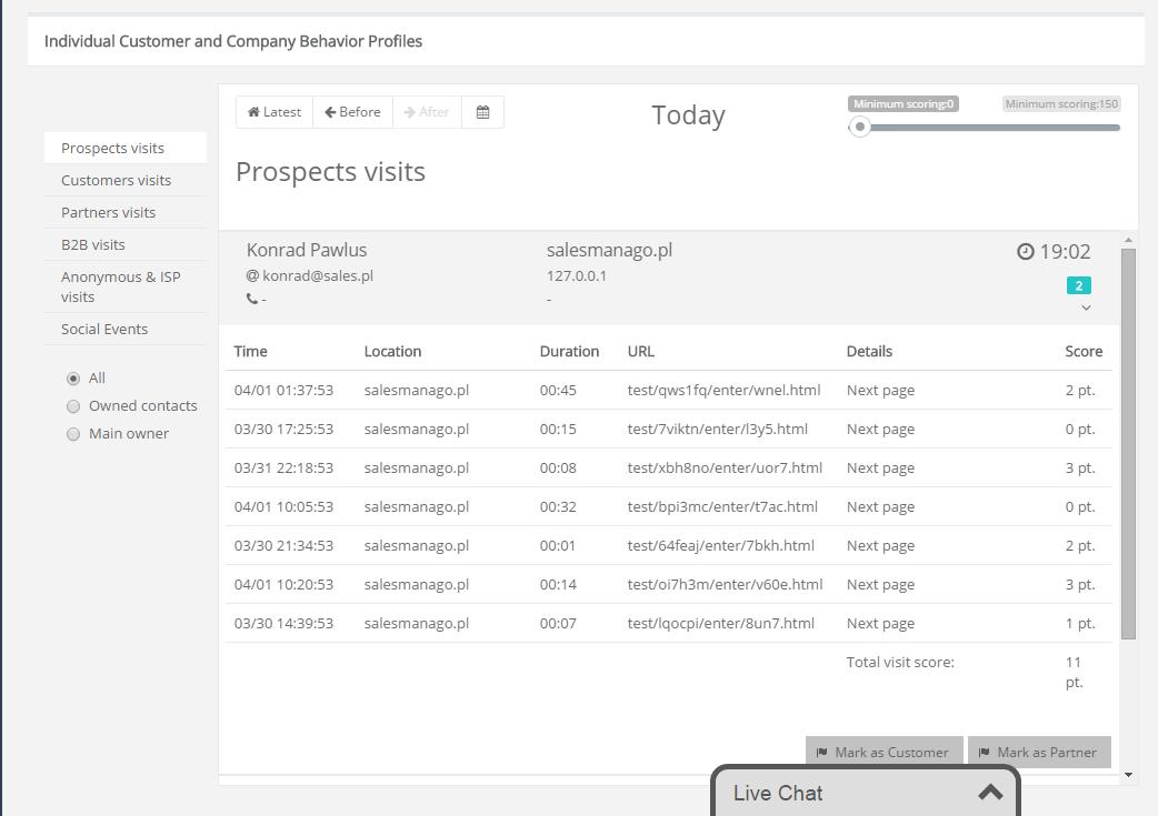 Monitoreo de contactos que visitan tu sitio web
