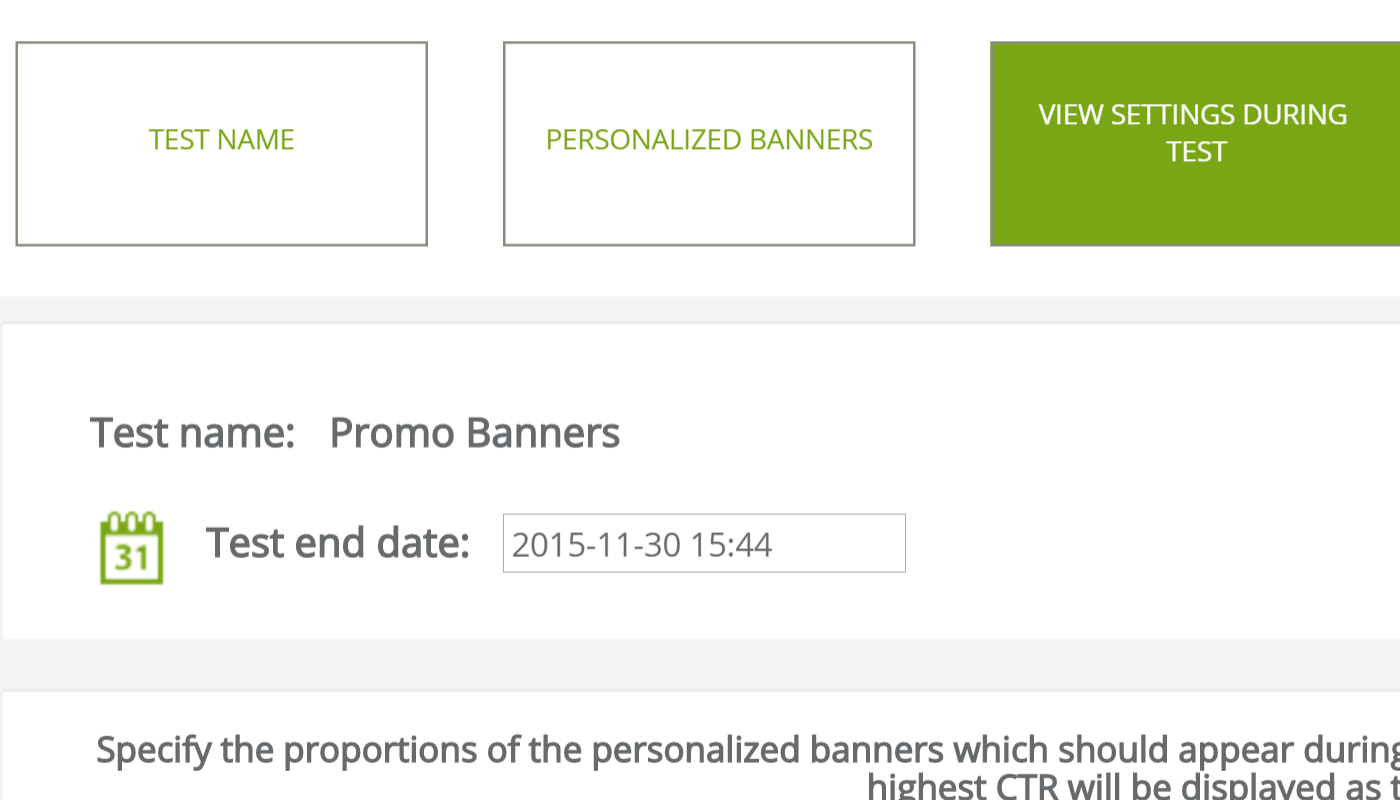 Personalized banners - test