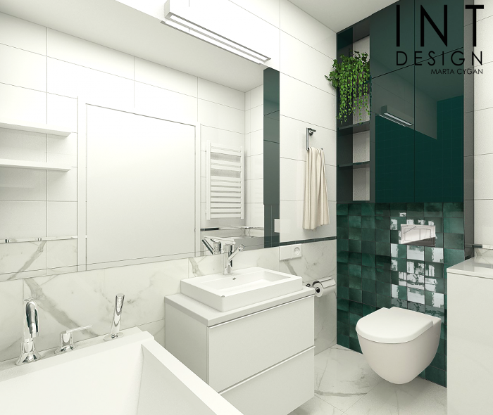 Jasna łazienka z płytkami w kolorze butelkowej zieleni i imitującymi marmur