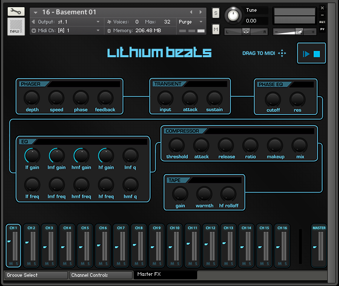 Lithium Beats Master Interface
