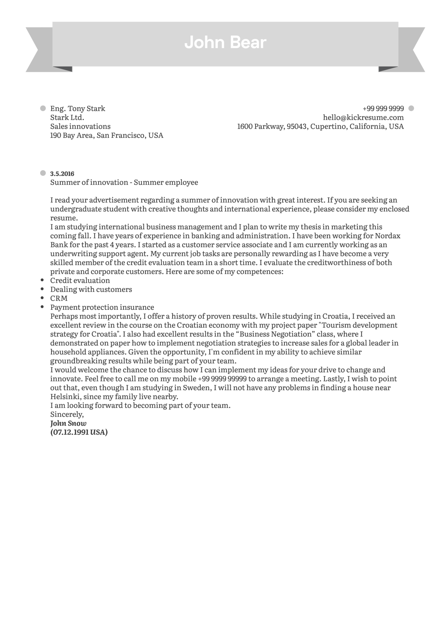 Student summer job cover letter sample