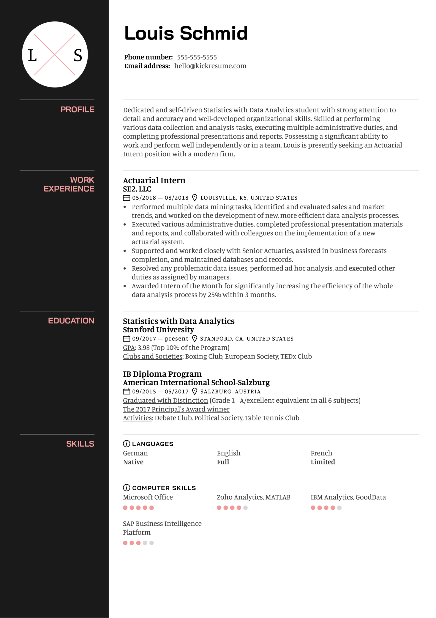 Resume Examples by Real People: Actuarial Intern Resume ...