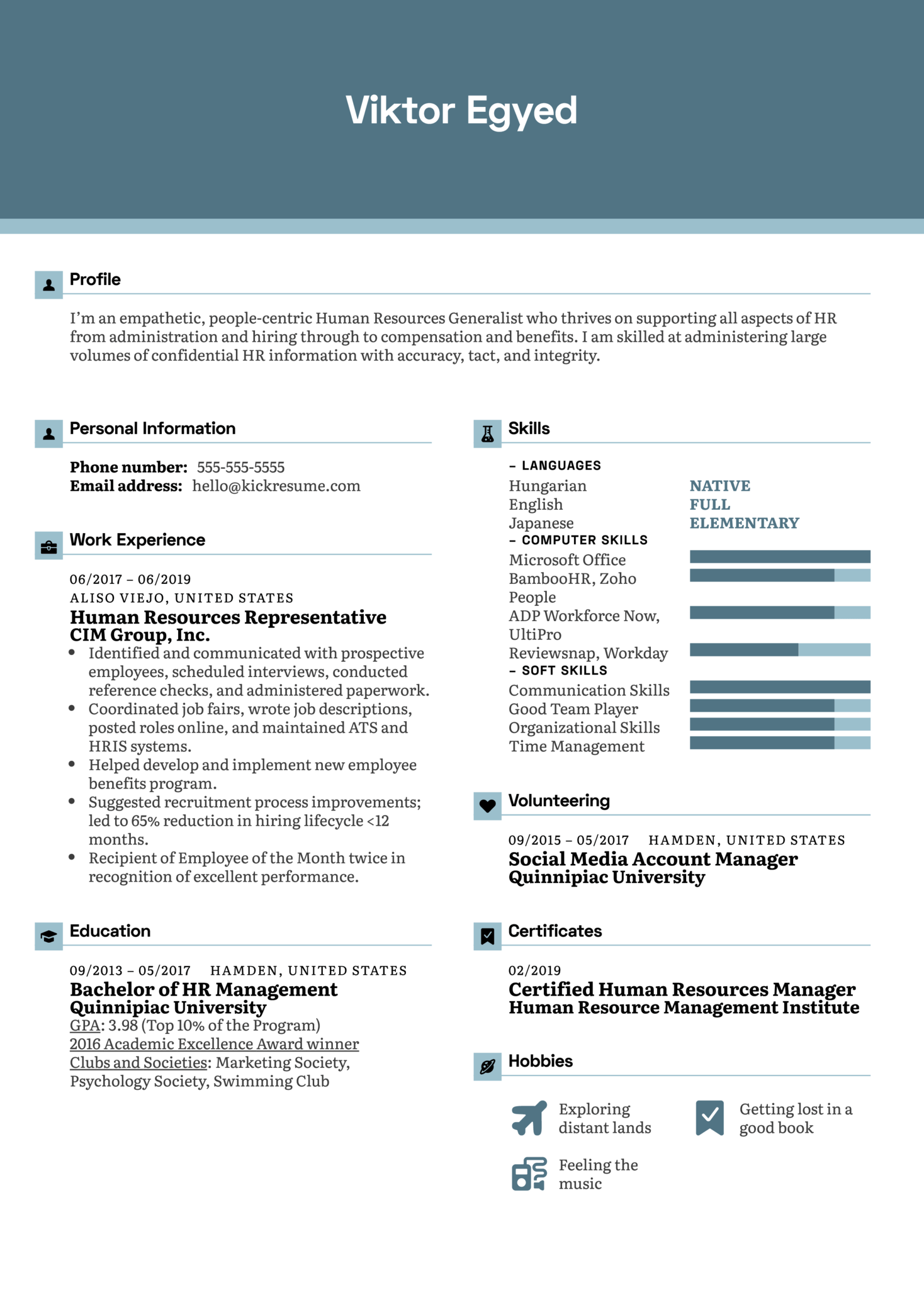 Human Resources Representative Resume Example (parte 1)