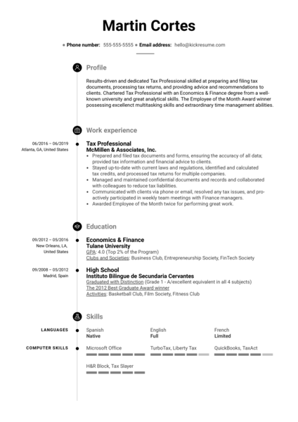 Tax Professional Resume Example