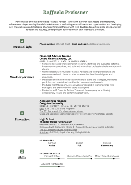 Financial Advisor Trainee Resume Example