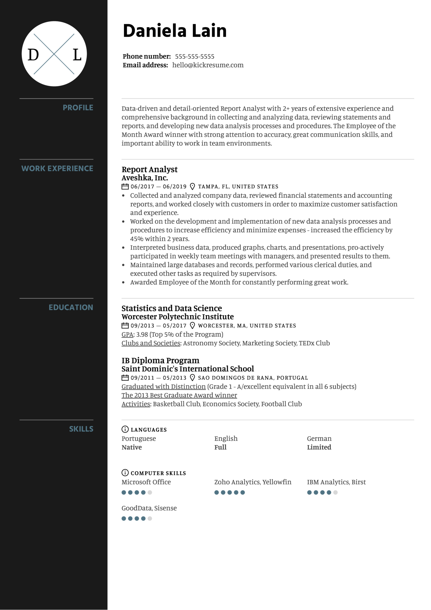 Report Analyst Resume Sample