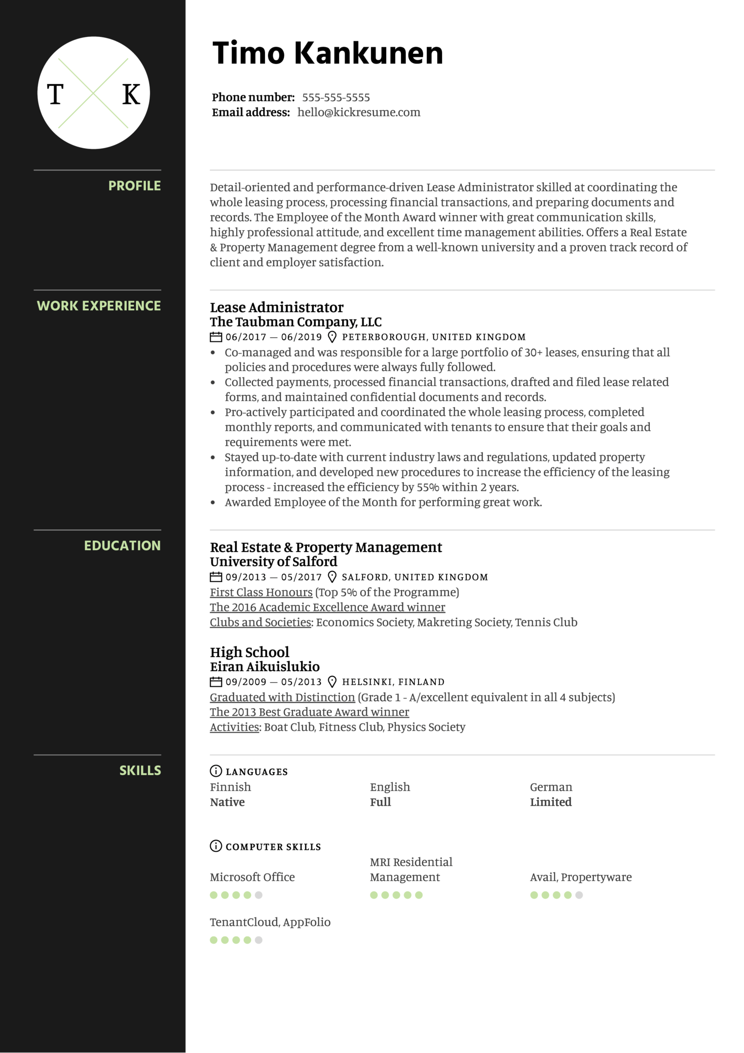 Lease Administrator Resume Example
