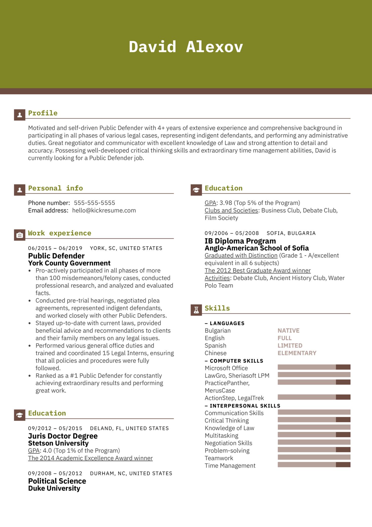 Public Defender Resume Example (parte 1)