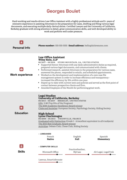 Law Office Assistant Resume Sample