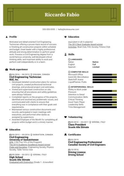 Civil Engineering Technician Resume Sample