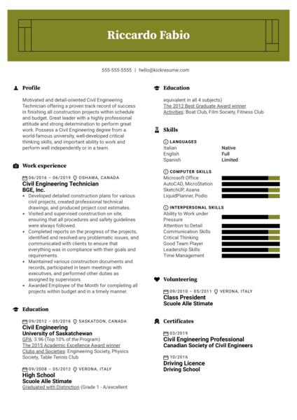 Civil Engineering Technician Resume Sample