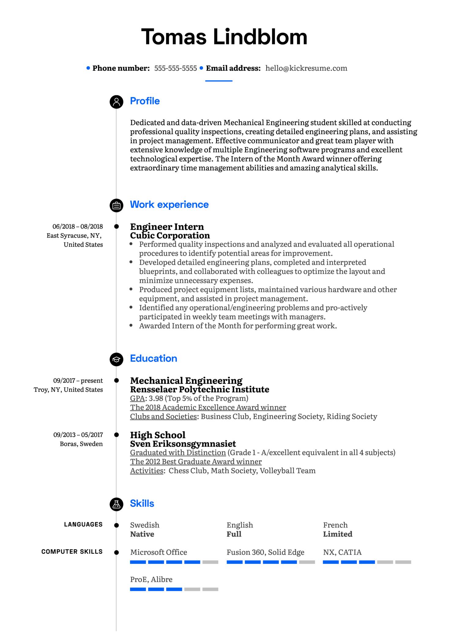 Engineer Intern Resume Example