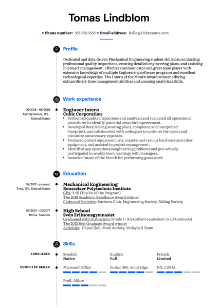 Engineer Intern Resume Example