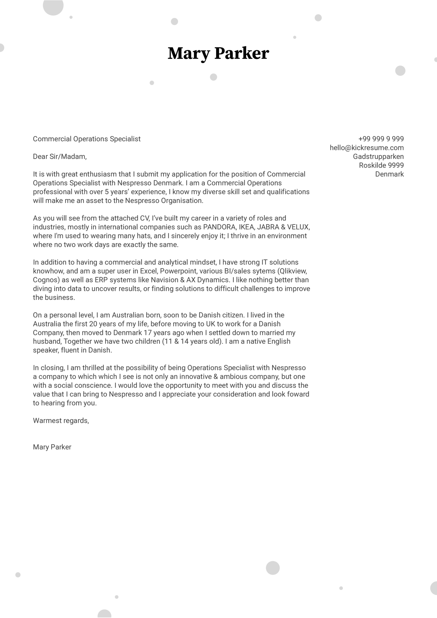 IKEA ECommerce Operations Manager Cover Letter Sample