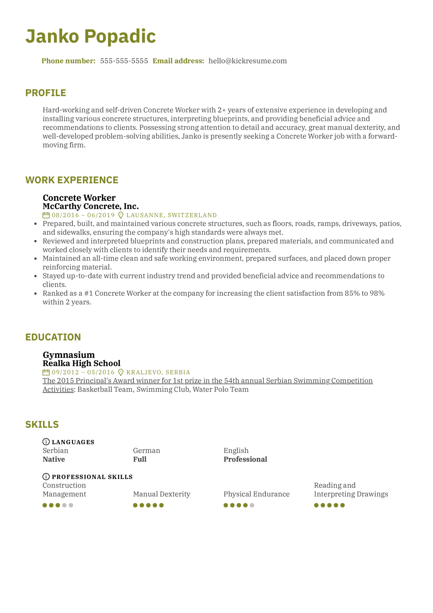 resume examples by real people  concrete worker resume sample