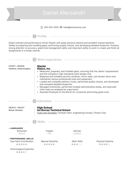 Glazier Resume Example