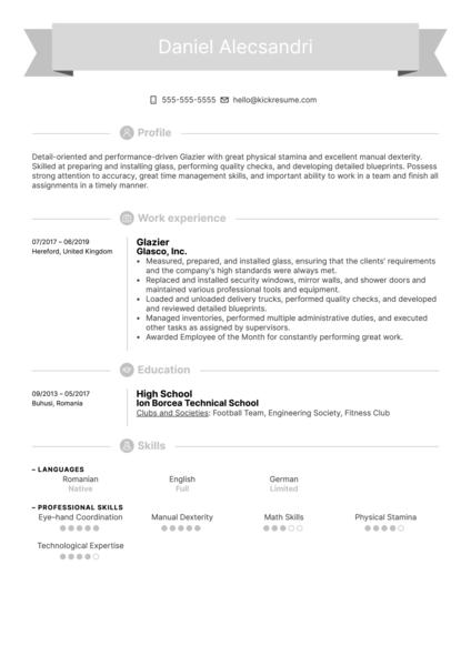 Glazier Resume Example