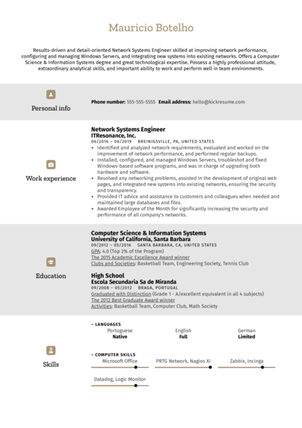 Network Systems Engineer Resume Example