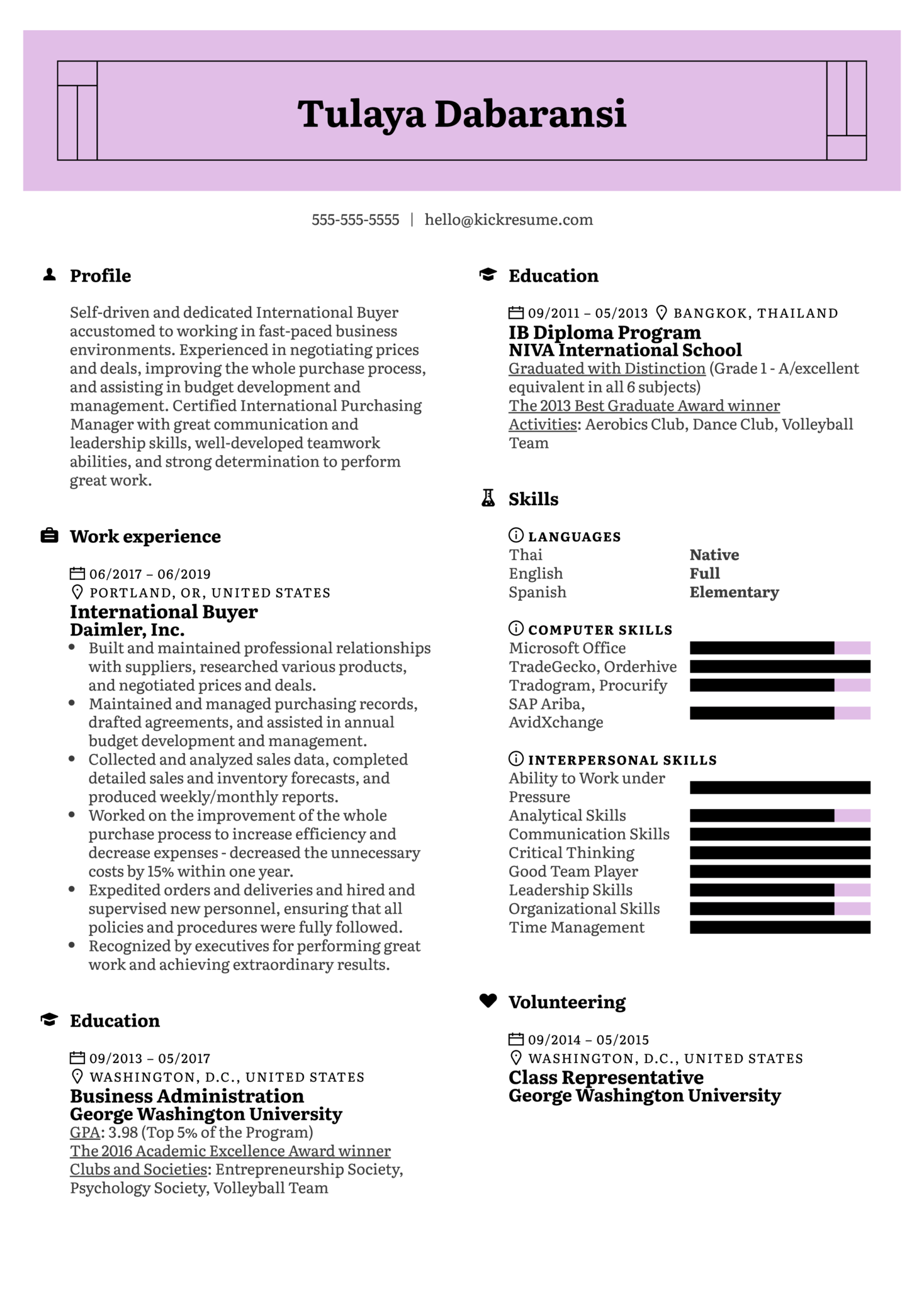 Resume Examples By Real People International Buyer Resume