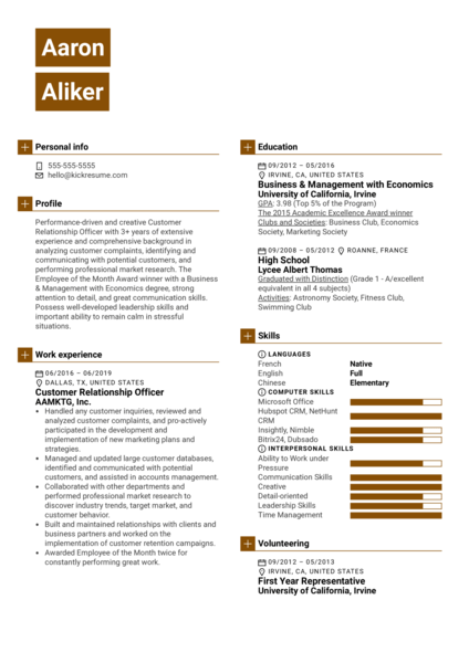 Customer Relationship Officer Resume Sample