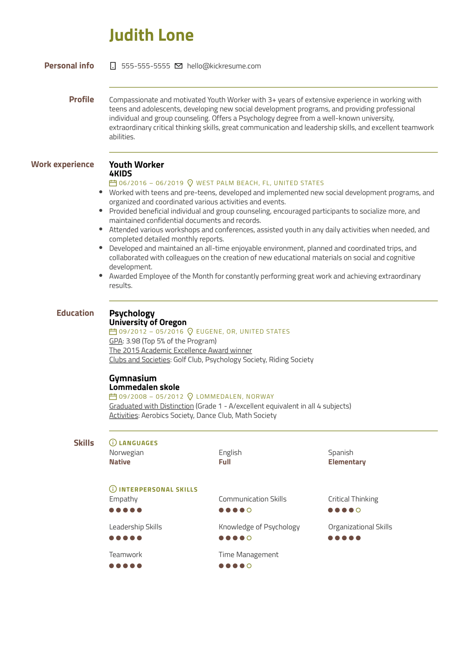 resume examples by real people  youth worker resume example
