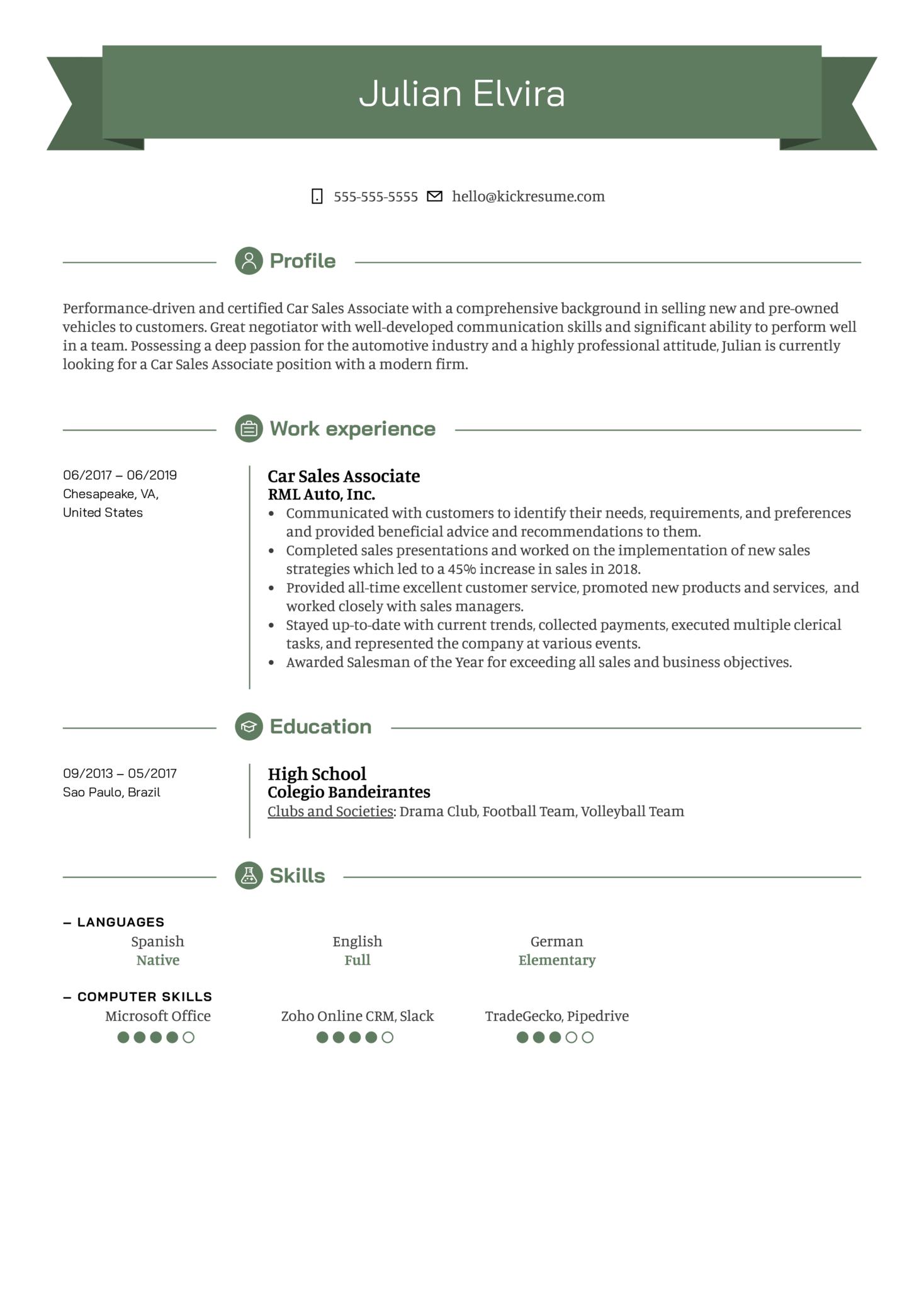 Resume Examples By Real People Car Sales Associate Resume